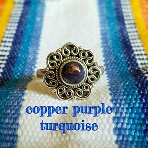 Copper Purple Turquoise Ring Sterling Silver